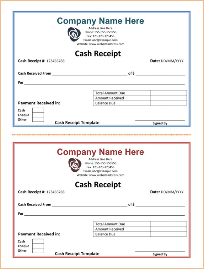 Cash Receipt Template Word Doc Cash Receipt Template 5 Printable Cash Receipt formats