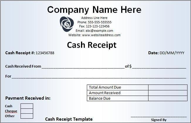 Cash Receipt Template Word Doc Cash Receipt Template