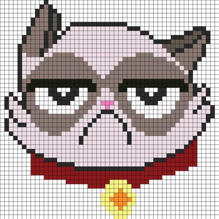Cat Pixel Art Grid Grumpy Cat Minecraft Blueprints & Pixel Art