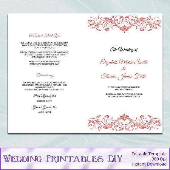 Catholic Wedding Program Template Catholic Wedding Program Template Diy Printable Coral order