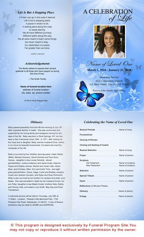 Celebration Of Life Program Template Free Funeral Program Templates