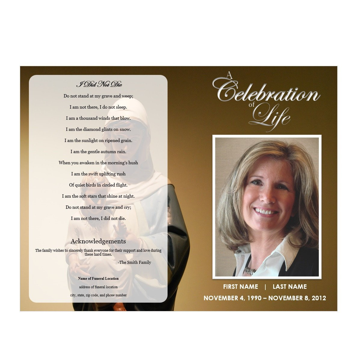 Celebration Of Life Program Template Virgin Mary Funeral Program Funeral Pamphlets