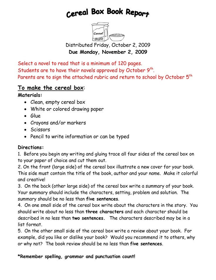 Cereal Box Book Report Template 24 Best Cereal Box Book Report Images On Pinterest