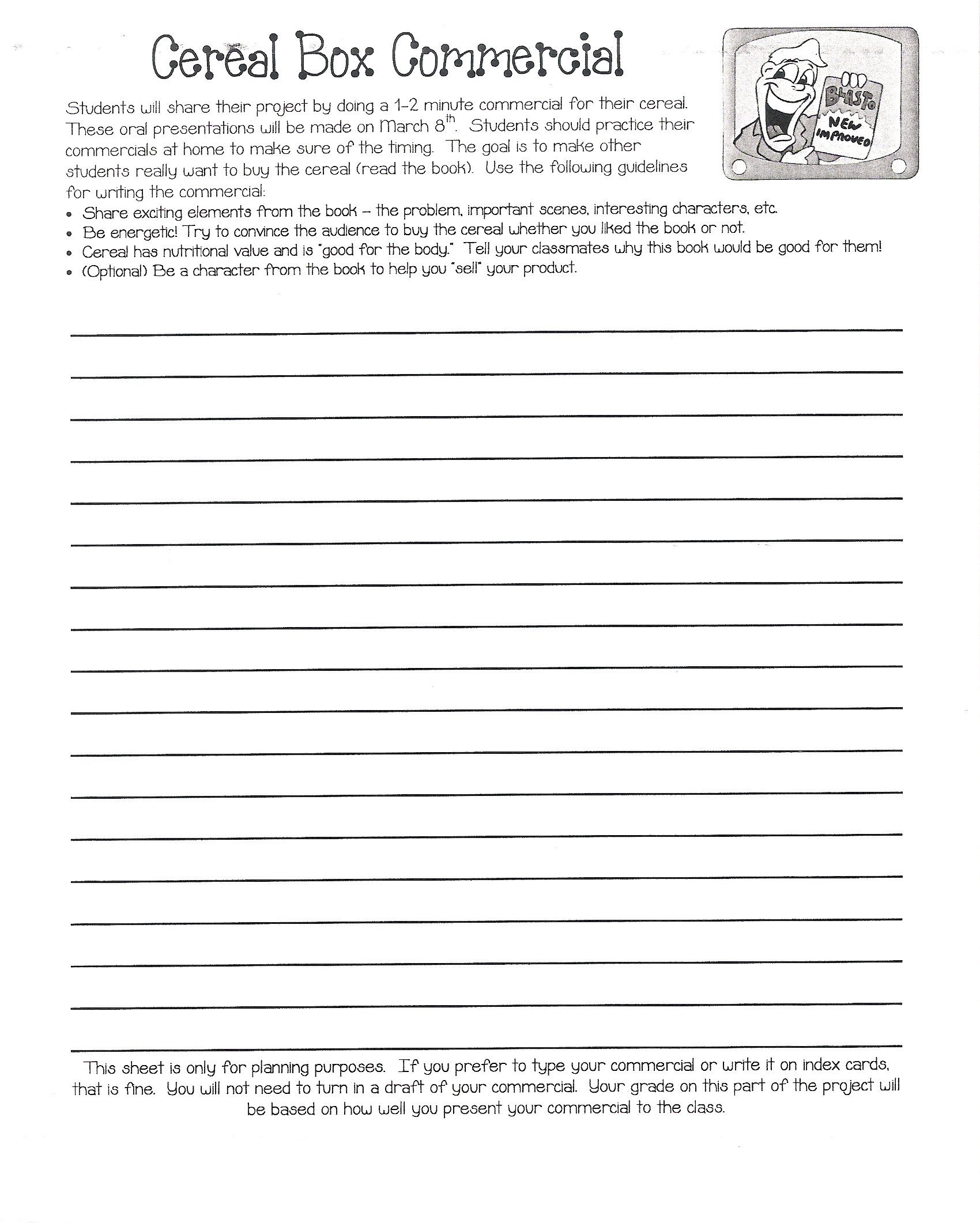 Cereal Box Book Report Template 301 Moved Permanently
