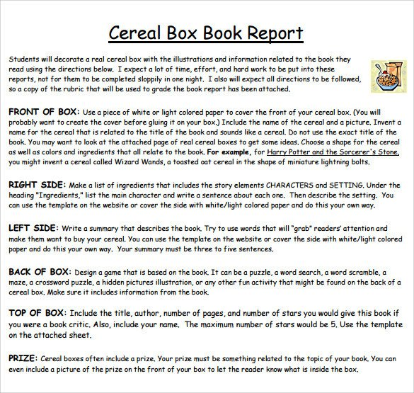 Cereal Box Book Report – 11 Free Samples Examples & Formats