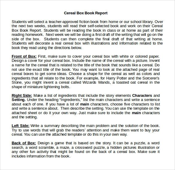 Cereal Box Book Report Template Cereal Box Book Report – 11 Free Samples Examples & formats