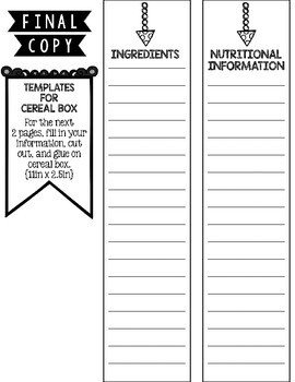 Cereal Box Book Report Template Cereal Box Book Report by Kristina Lovell
