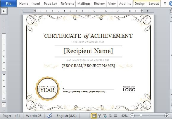 Certificate Of Achievement Word Template Certificate Achievement Template for Word 2013