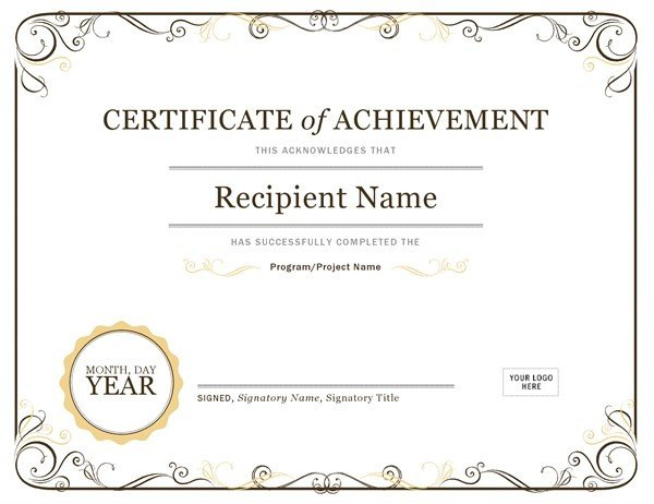 Certificate Of Achievement Word Template Certificate Of Achievement