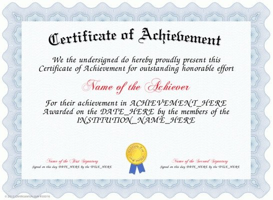 Certificate Of Achievement Word Template Certificate Templates