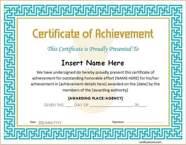 Certificate Of Achievement Word Template Pin by Alizbath Adam On Certificates