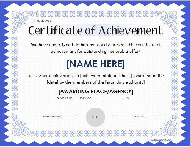 Certificate Of Achievement Word Template Scholarship Award Certificate Template