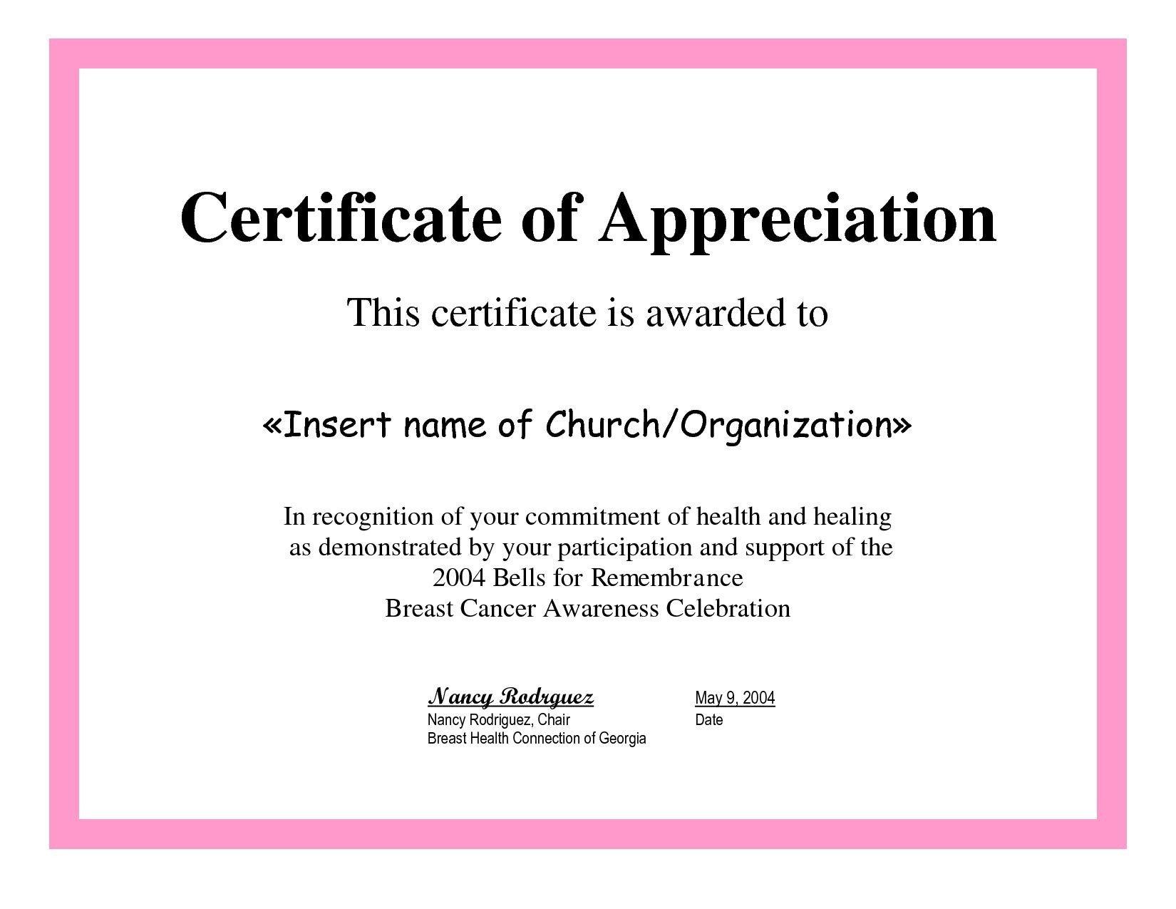 Certificate Of Appreciation Template Employee Appreciation Certificate Template Free