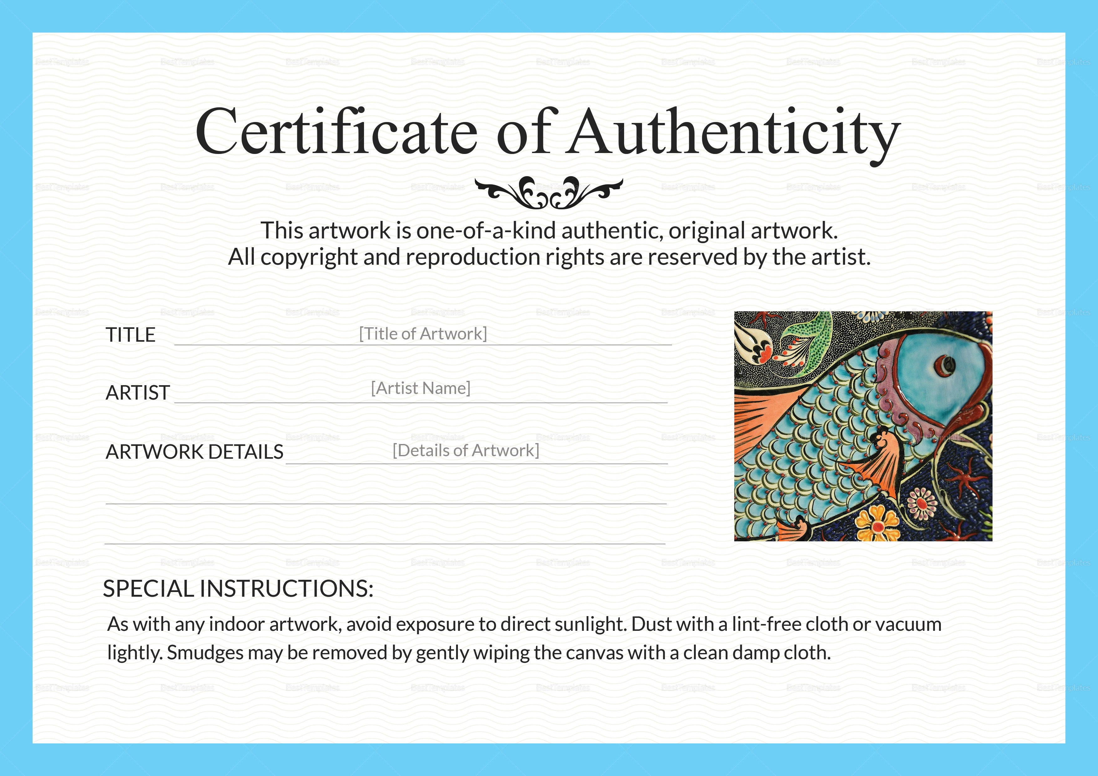 Artwork Authenticity Certificate Design Template in PSD Word