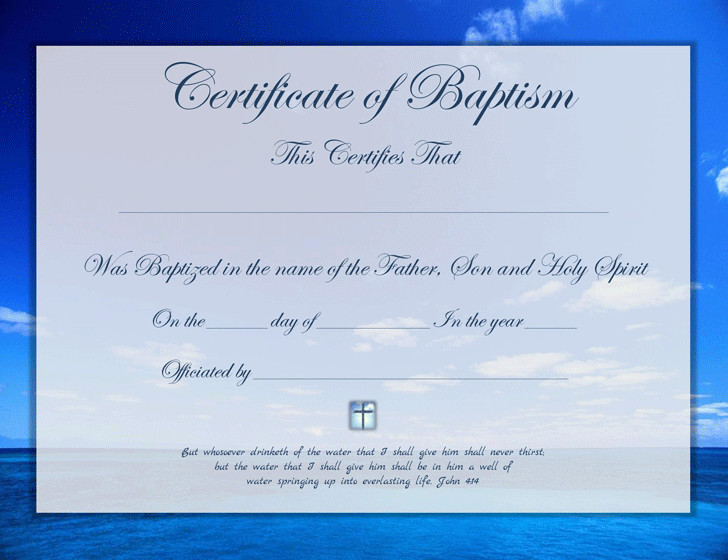 Certificate Of Baptism Template Baptism Certificate Template Free Download