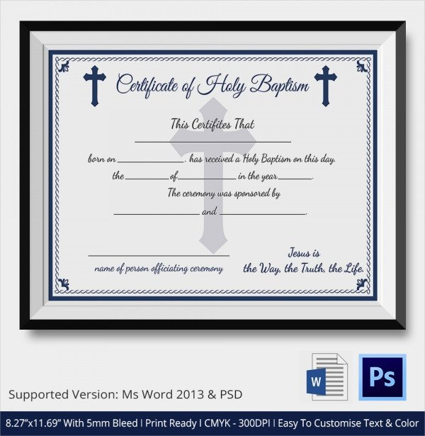 Certificate Of Baptism Template Sample Baptism Certificate 20 Documents In Pdf Word Psd
