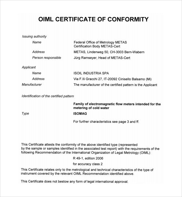 Certificate Of Conformity Template Sample Conformity Certificate Template 15 Documents In