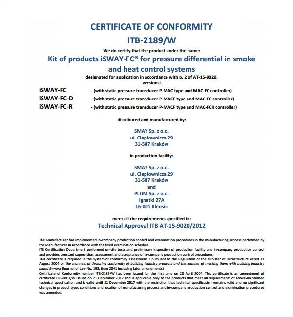 Certificate Of Conformity Template Sample Conformity Certificate Template 8 Free Documents