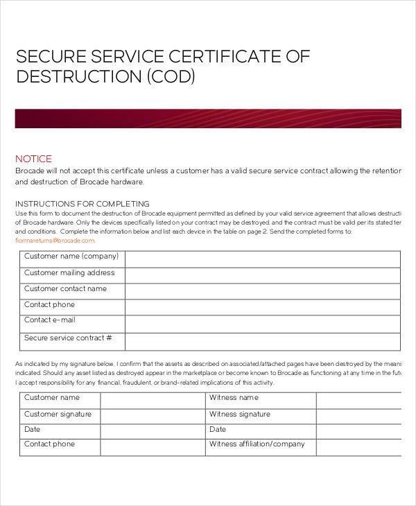 Certificate Of Destruction Template 21 Of Records Destruction Log Template