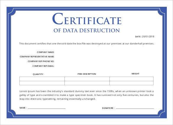 Certificate Of Destruction Template Certificate Templates