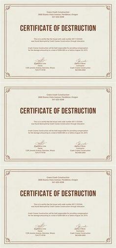 Certificate Of Destruction Template Destruction Certificate Archives 123 Certificate