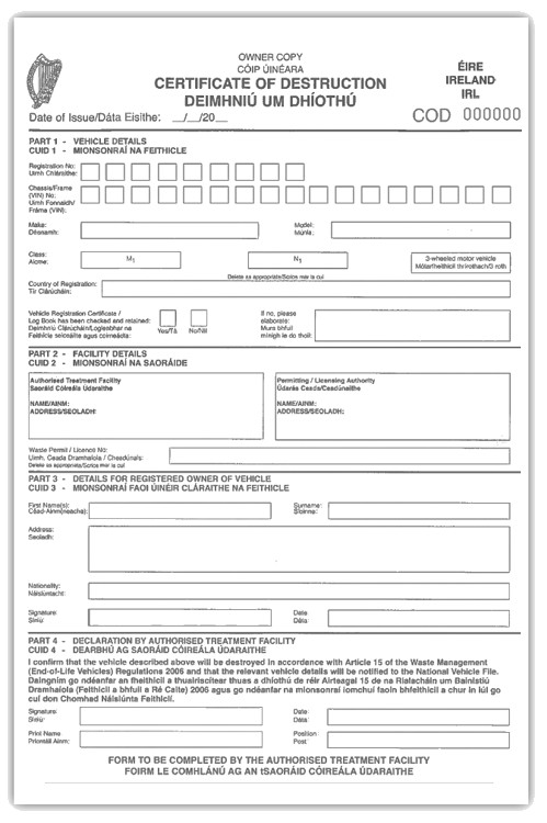 Certificate Of Destruction Template How the Law Affects You when You Scrap Your Car Cartakeback