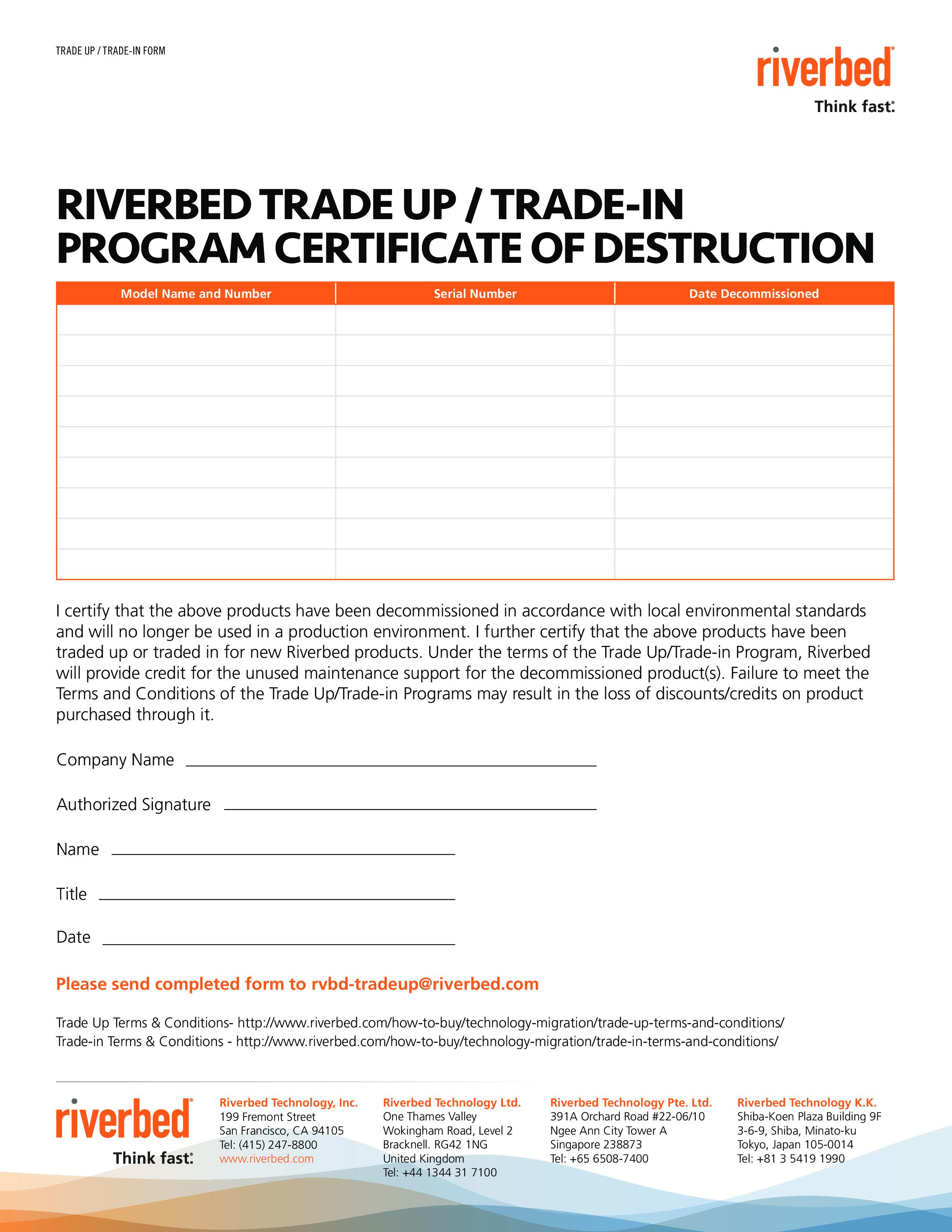 Certificate Of Destruction Template Program Certificate Destruction