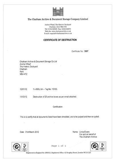 Certificate Of Destruction Template Secure Document Destruction