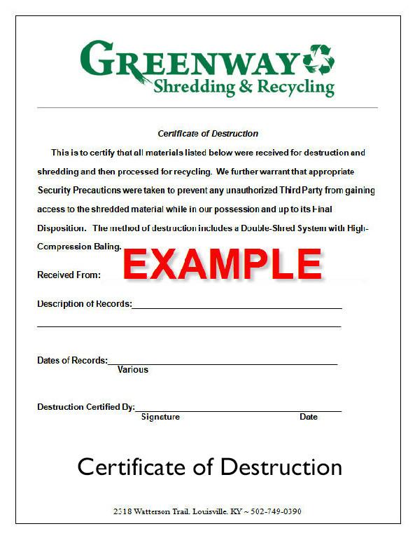 Certificate Of Destruction Template the Document Destruction Process ⋆ Greenway Shredding