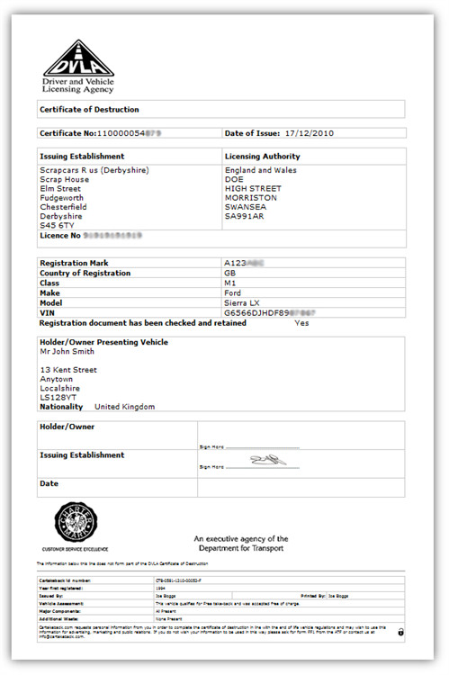 Certificate Of Destruction Template What Does A Dvla Certificate Destruction Look Like