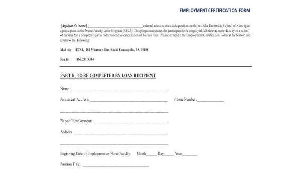 Certificate Of Employment form Sample Employment Certification forms 7 Free Documents