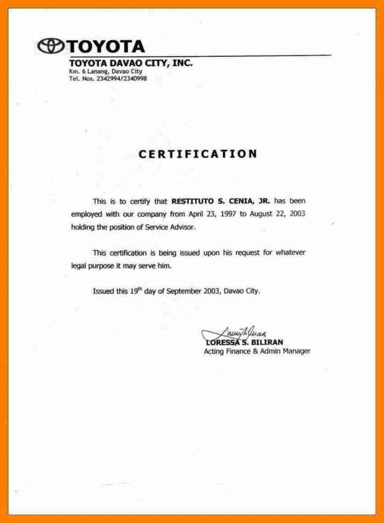 Certificate Of Employment Template 6 Sample Of Certificate Of Employment with Salary