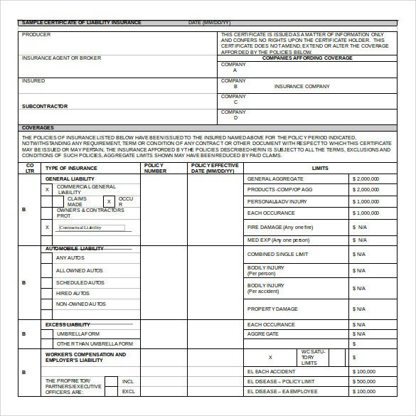 Certificate of Insurance Template 15 Download Free