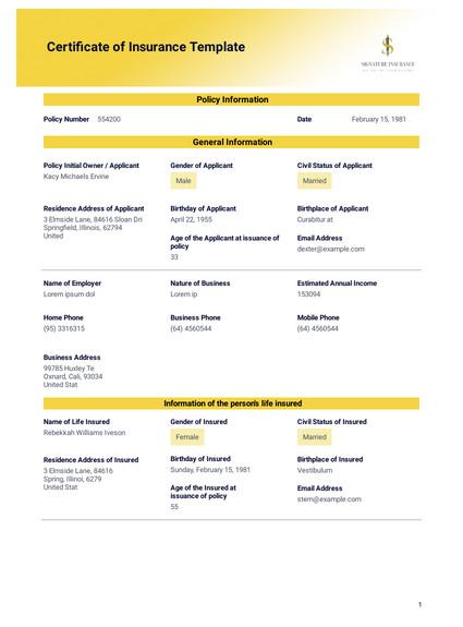 Certificate Of Insurance Template Certificate Of Insurance Template Pdf Templates