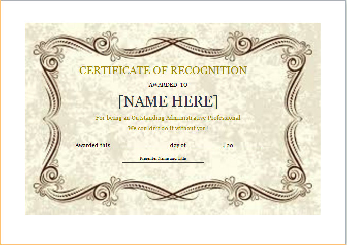 Certificate Of Recognition Template Certificate Of Recognition Template for Word