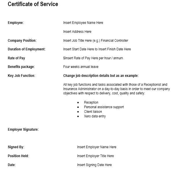 Certificate Of Service Template 12 Free Sample Employment Certificate Templates