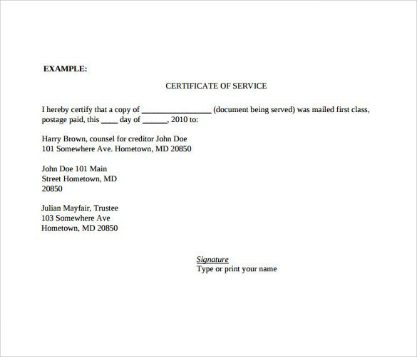 Certificate of Service Template 13 Download Documents