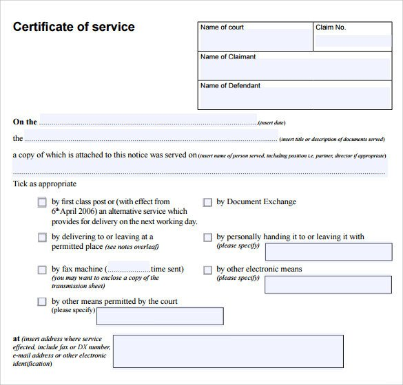 Certificate Of Service Template Certificate Of Service Template 8 Download Free