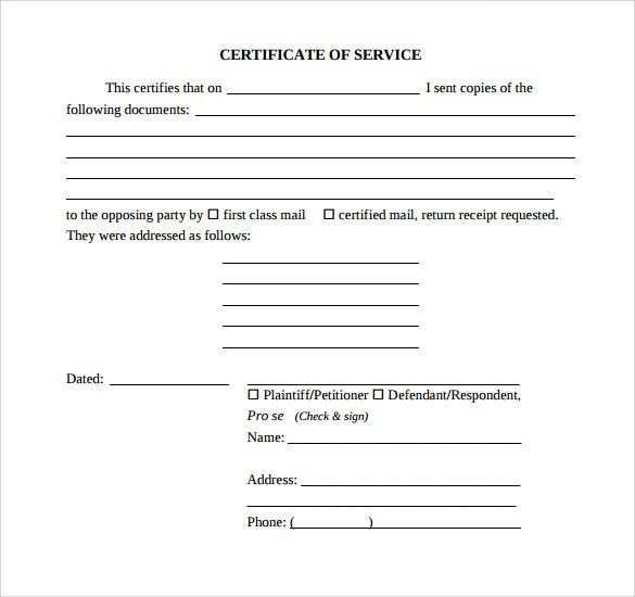 Certificate Of Service Template Sample Certificate Of Service Template 19 Documents In