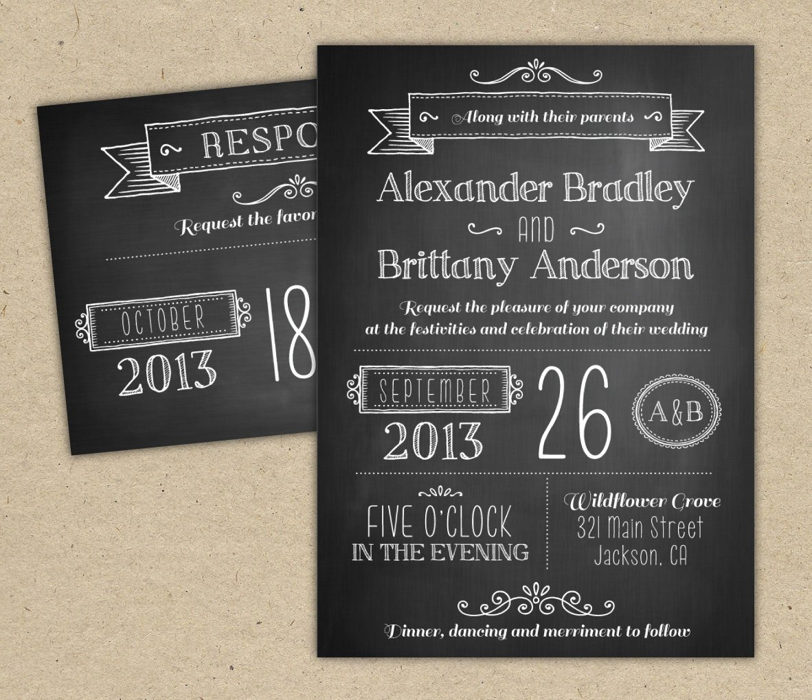 Chalkboard Invitation Template Free Chalkboard Wedding Invitation Modern Invitation Template Diy