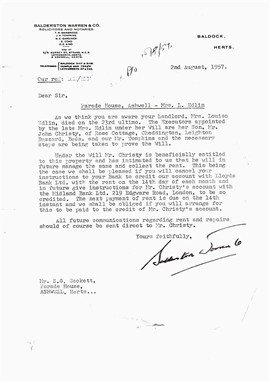 Change Of Ownership Letter S G Sackett 1951 1963 ashwell Stores