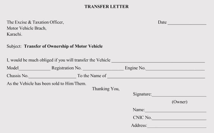 Change Of Ownership Letter Sample Authorization Letter to Transfer Vehicle Ownership