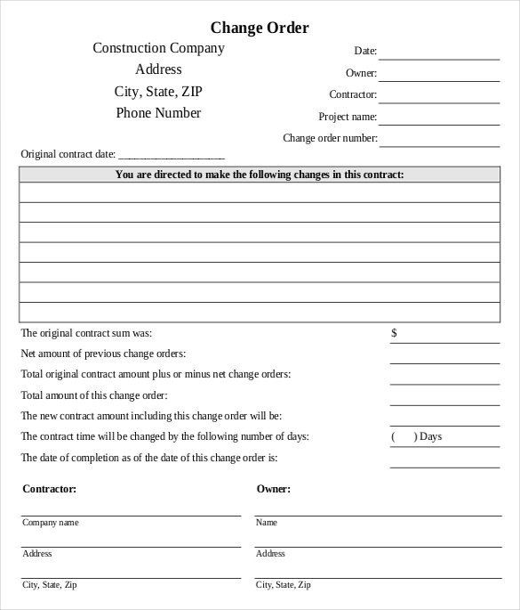 24 Change Order Templates PDF DOC
