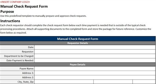 Check Request form Template Manual Check Request form Accounting Templates
