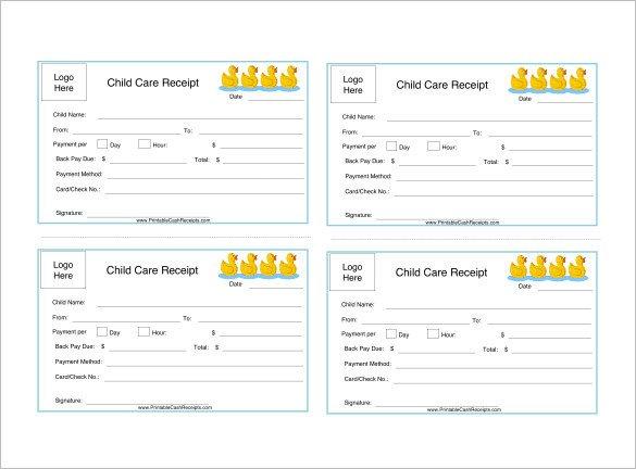 Child Care Receipt Template 20 Daycare Receipt Templates Doc Pdf