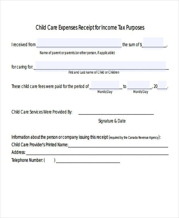 Child Care Receipt Template 4 Expense Receipt Templates Free Samples Examples