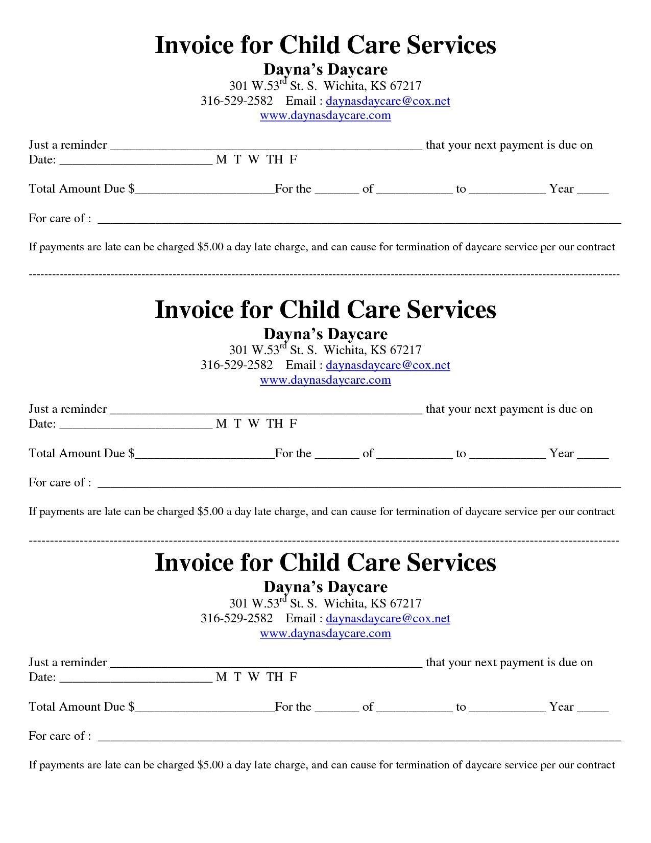 Child Care Receipt Template Child Care Receipt Invoice Jordi Preschool