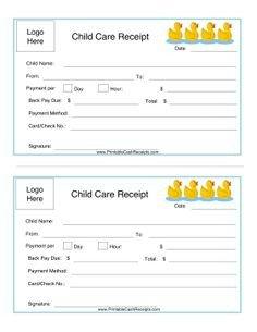 Child Care Receipt Template Child Care Receipt