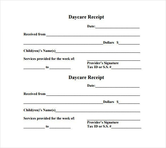 Child Care Receipt Template Daycare Receipt Template – 12 Free Word Excel Pdf