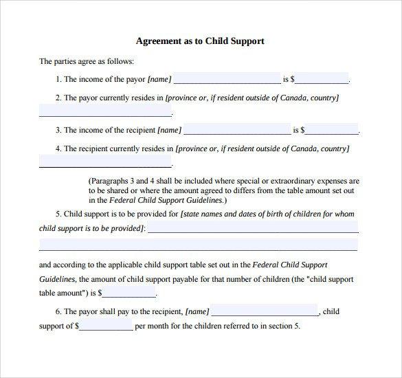 Child Custody Agreements Templates 10 Sample Child Support Agreement Templates Pdf